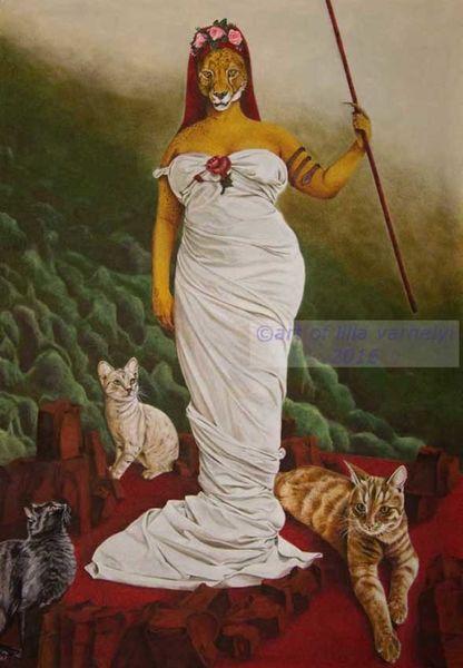Tiere, Königin, Katze, Urwald, Faltenwurf, Surreal