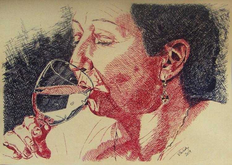 Trinken, Federzeichnung, Portrait, Glas, Tuschmalerei, Gesicht