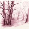 Landschaft, Baumstudie, Tuschmalerei, Baum