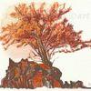 Landschaft, Eberesche, Tuschmalerei, Oktober