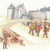 Illustration, Tuschmalerei, Burg, Tanz