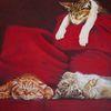 Langweilen, Faul, Harzölmalerei, Katze
