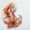Tuschmalerei, Affe, Tierzeichnung, Animaldrawing