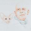 Portrait, Tuschmalerei, Monochrom, Katze