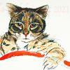 Tuschmalerei, Tiere, Katze, Böse