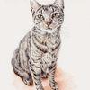 Katze, Tiere, Tuschmalerei, Auftragsarbeit