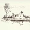 Burg, Zeichnung, Skizze, Arbeitszimmer