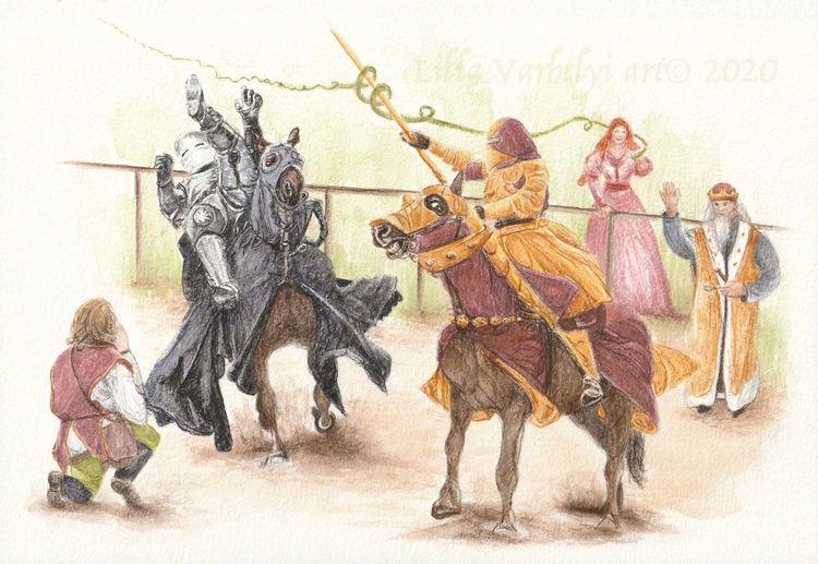 Ritter, Tuschmalerei, Illustration, Pferde, Märchen, Mittelalter