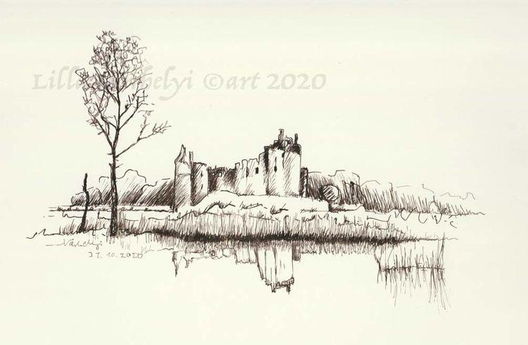 Burg, Zeichnung, Skizze, Arbeitszimmer, Tuschmalerei, Federzeichnung