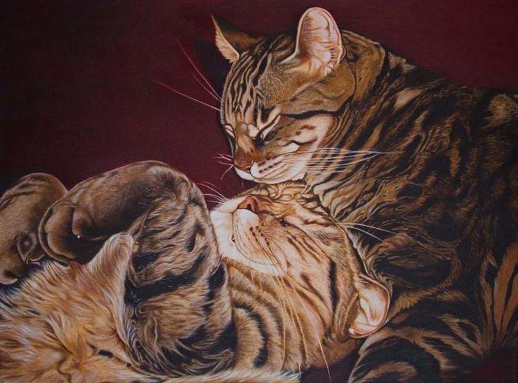 Tierportrait, Auftragsmalerei, Tiere, Harzölmalerei, Katze, Malerei