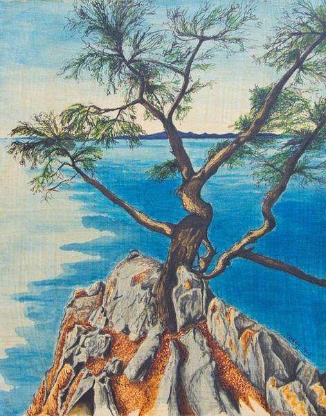 Landschaft, Baum, See, Stein, Felsennatur, Tusche