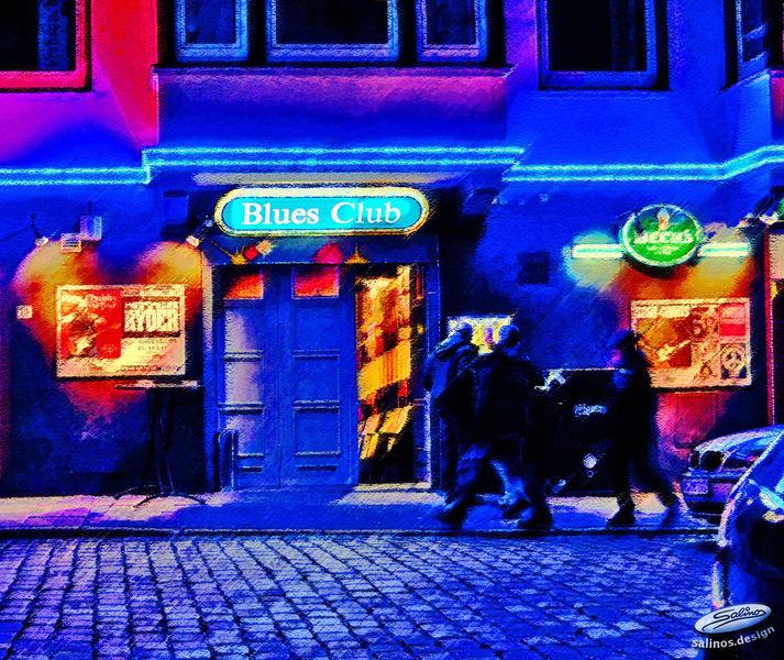 Veranstaltung, Tür, Bluesclub, Konzert, Eingang, Blau