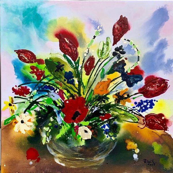 Vase, Strauß, Frühling, Natur, Blumen, Malerei