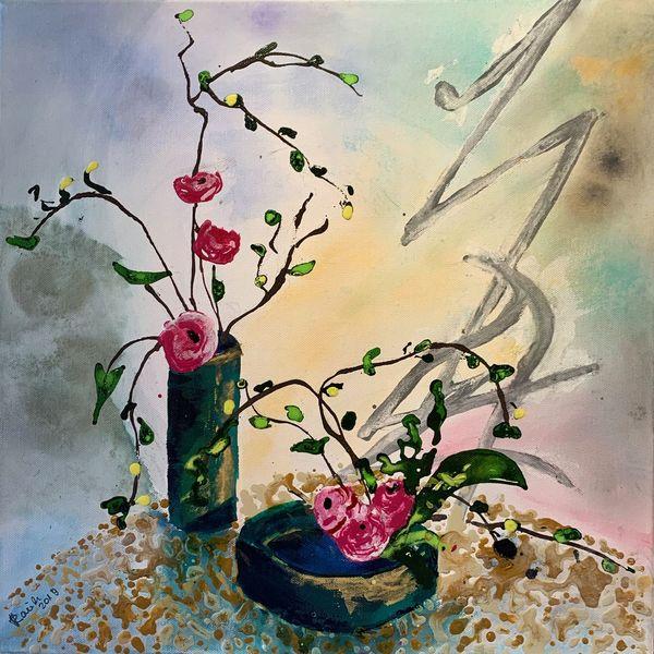 Zweig, Ikebana, Stillleben, Airbrush, Malerei