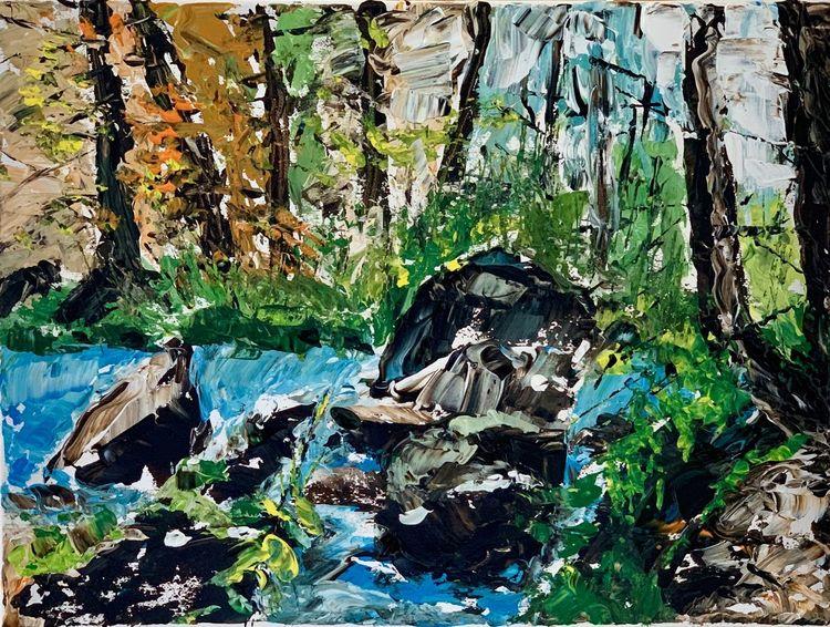 Bach, Sommer, Wald, Landschaft, Natur, Malerei
