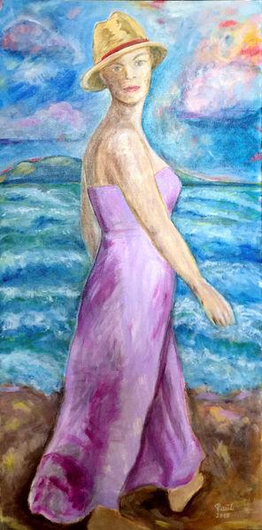 Strand, Junge frau, Mädchen, Meer, Malerei