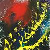 Rote sonne, Feuerball, Gras, Malerei