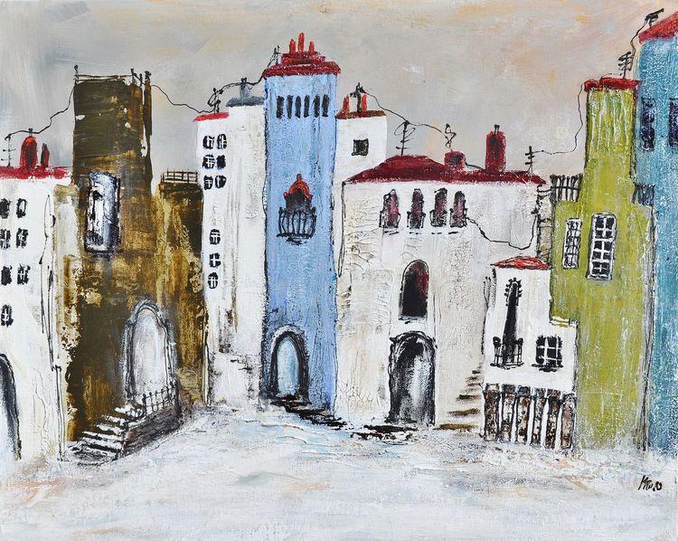 Acrylmalerei, Andalusien, Dorf, Malerei, Malerei abstrakt