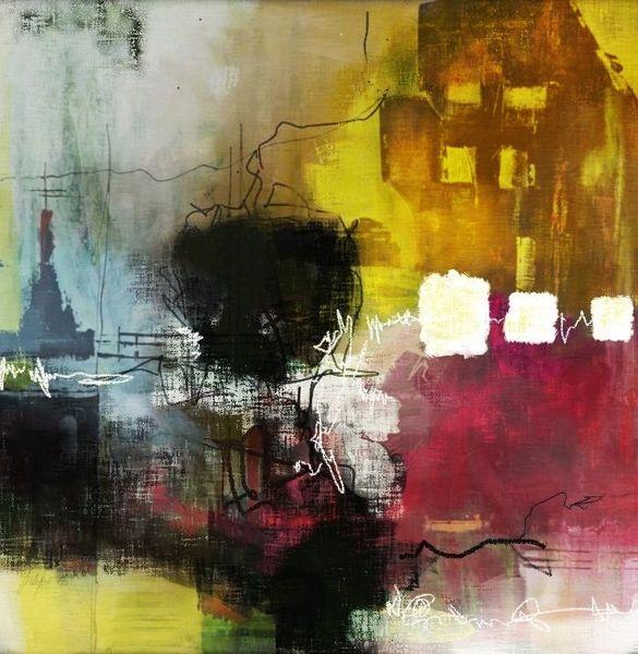 Braun, Acrylmalerei, Gebäude, Pink, Abstrakt, Linie