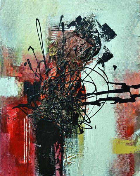 Rot schwarz, Wandgestaltung, Gelb, Acrylmalerei, Effekt, Weiß