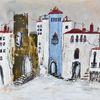 Dorf, Acrylmalerei, Andalusien, Malerei