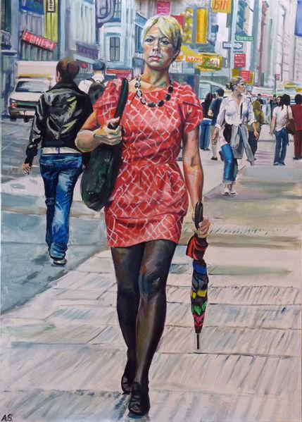 Manhattan, Frau, Soho, Catwalking, Malerei
