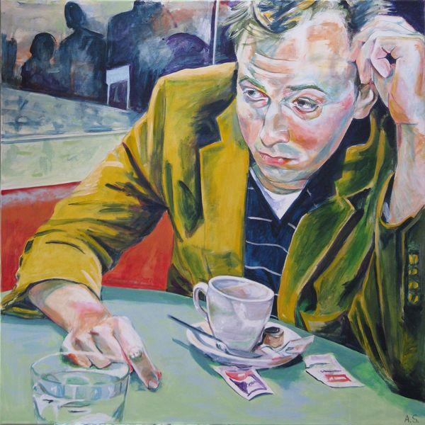 Portrait, Cafe, Joey goebel, Malerei
