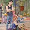 Straßenszeneflohmarkt, Menschen, Malerei