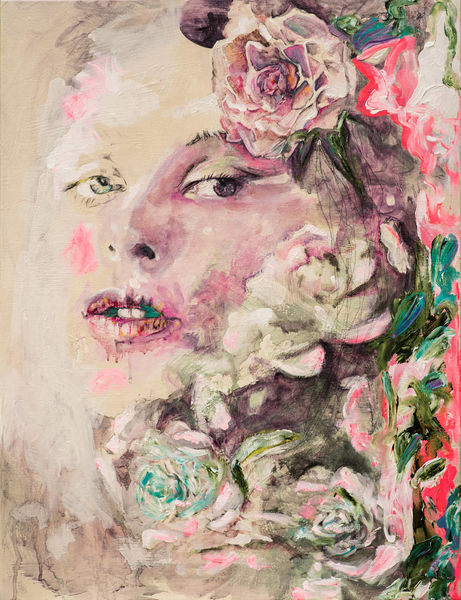Pink, Frau, Gefühl, Rose, Blumen, Malerei