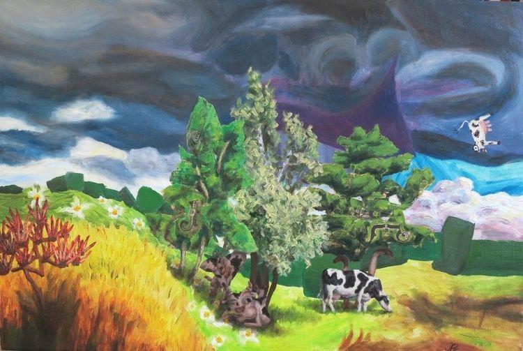 Baum, Gras, Kuh, Himmel, Weide, Malerei
