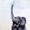 Tierkarikatur, Elefant, Karikatur, Malerei