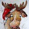 Weihnachten, Elch, Winter, Malerei