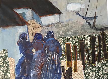 Sommer, Frau, Häuser, Boot, Ostsee, Malerei