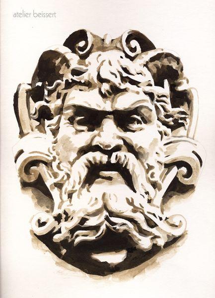 Faun, Hauswand, Fassade, Antike, Groteske, Leipzig