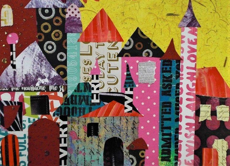 Intutiv, Haus, Stadt, Collage, Fantasie, Malerei