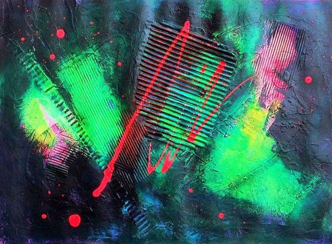 Abstrakt, Spachteltechnik, Collage, Kraft, Acrylmalerei, Blautöne