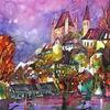 Schloss, Aquarellmalerei, Herbst, Thun