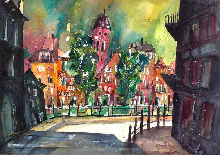 Stadt, Aquarellmalerei, Straßburg, Malerei