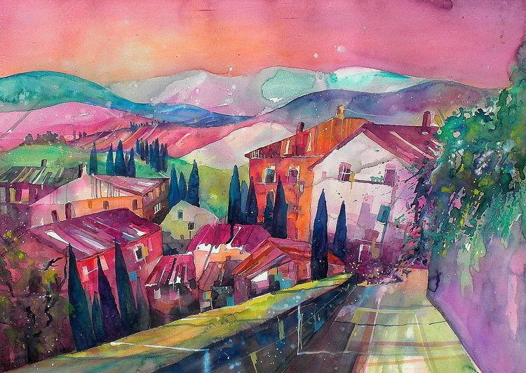 Toskana, Landschaft, Toskanaaquarell, Aquarell, Dorf