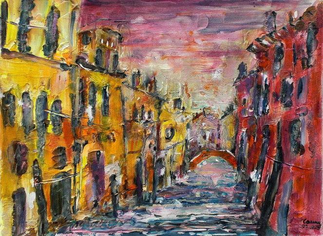 Architektur, Venedig, Malerei, Strukturtechnik, Acrylmalerei, Mischtechnik