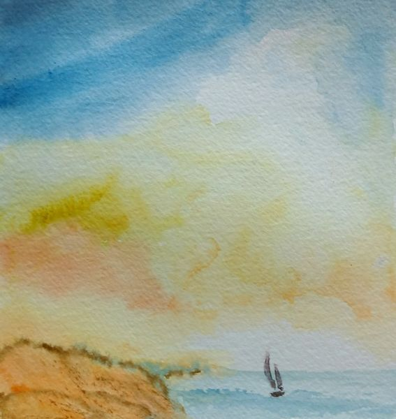 Boot, Aquarellmalerei, Landschaft, Aquarell