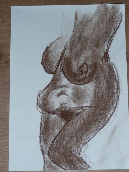 Frau, Kohlezeichnung, Akt, Zeichnungen,