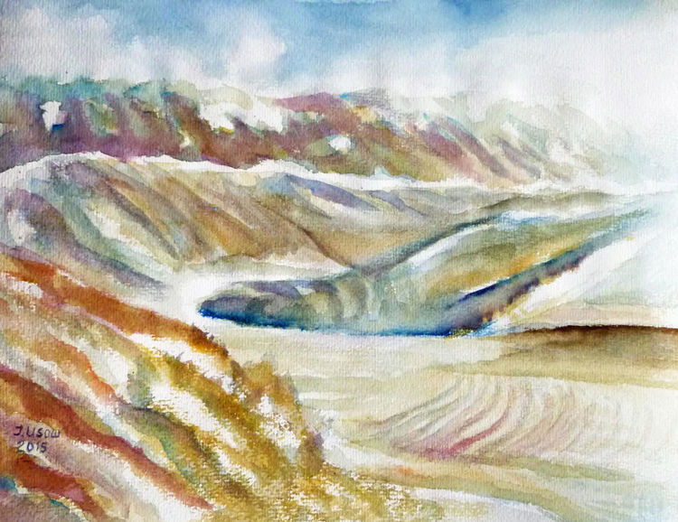 Berge, Alpen, Aquarellmalerei, Landschaft, Natur, Aquarell