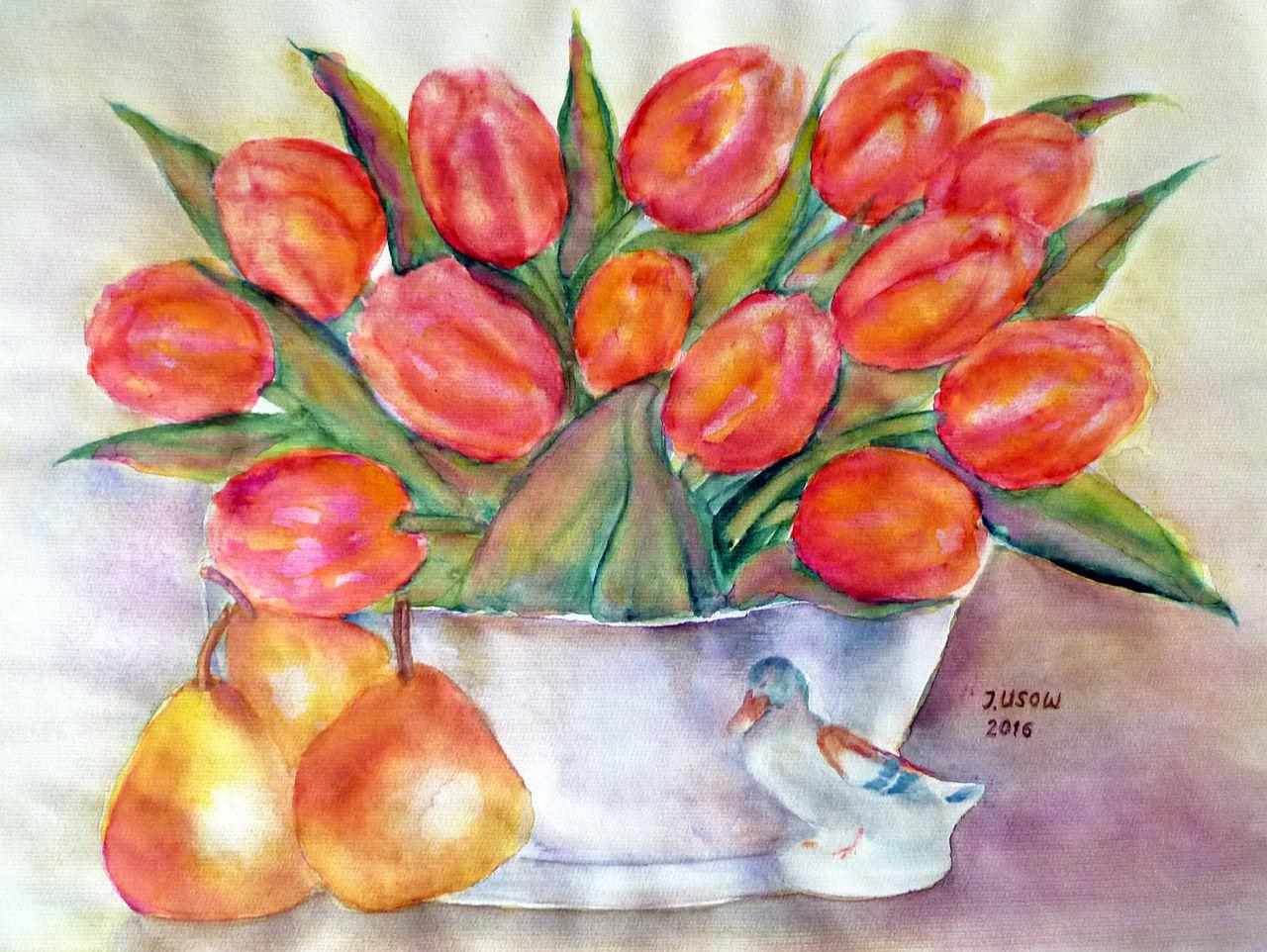 stillleben mit tulpen aquarellmalerei stillleben blumenmalerei tulpen von irina usova bei. Black Bedroom Furniture Sets. Home Design Ideas