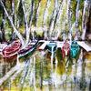 Fluss, Aquarellmalerei, Boot, Landschaft