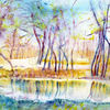 Landschaft, Natur, Aquarellmalerei, Aquarell