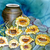 Krug, Sonnenblumen, Aquarellmalerei, Stillleben