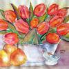 Blumenmalerei, Tulpen, Aquarellmalerei, Stillleben