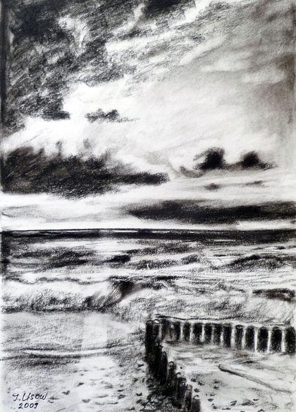 Meer, Natur, Zeichnung, Kohlezeichnung, Ostseelandschaft, Zeichnungen