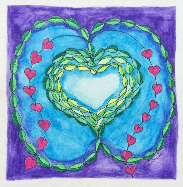 Fantasie, Herz, Zeichnung, Zeichnungen, Gekritzel,